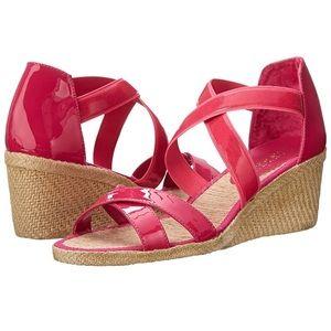 Ralph Lauren Cortney Leather Open Toe Wedge Sandal